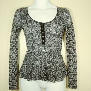 Free People Floral Navy Blue/Gray Crochet Top XS